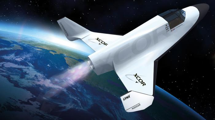 Zeichnung eines Raumgleiteters, im Hintergrund die Erde