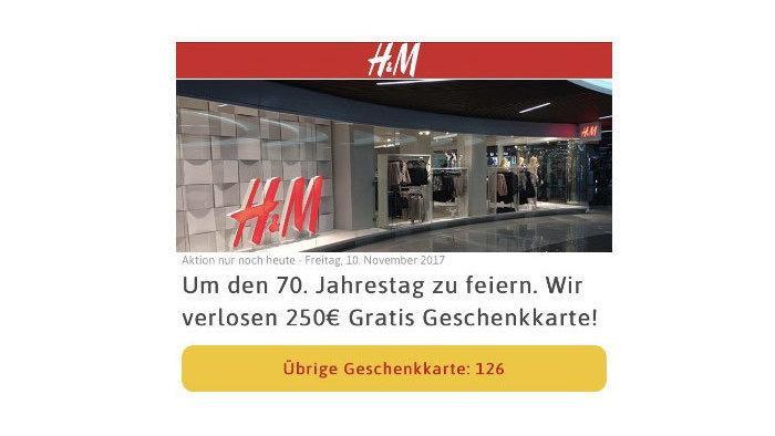 H&M warnt vor WhatsApp-Kettenbrief mit vermeintlichem Gutschein