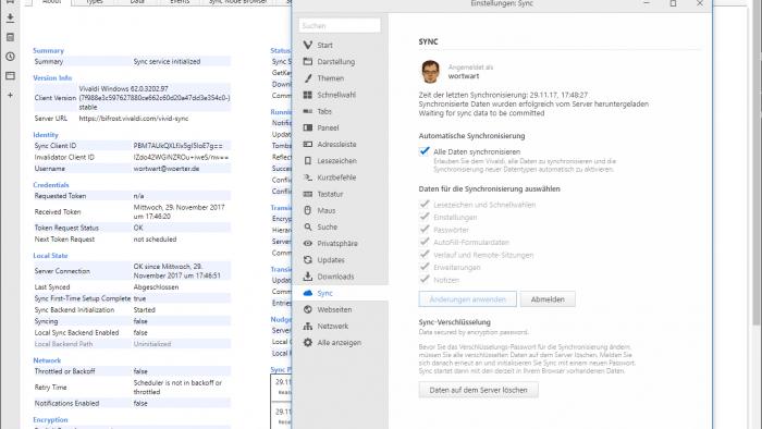 Browser Vivaldi kann Daten synchronisieren