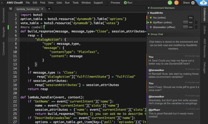 Der Collaboration-Modus kombiniert Sourcecode und Chat.