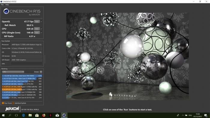 Cinebench-R15-Ergebnisse eines Vorserien-Notebooks mit AMD Ryzen 7 2700U