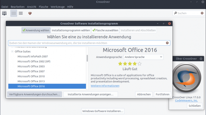 Crossover 17.0: Microsoft Office 2016 unter Linux