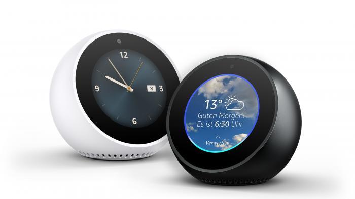 Amazon Echo Spot in Schwarz und Weiß