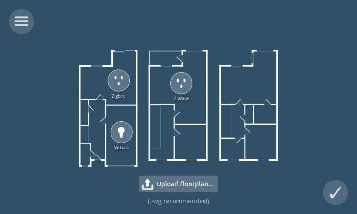 Schema eines Grundrisses mit eingezeichneten Icons für Glühbirnen