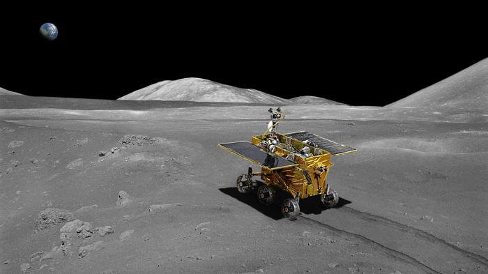 """Der Mond-Rover """"Jadehase"""" (siehe Render-Bild) soll am Sonntagabend ein erstes Bild vom Landefahrzeug zur Erde funken."""