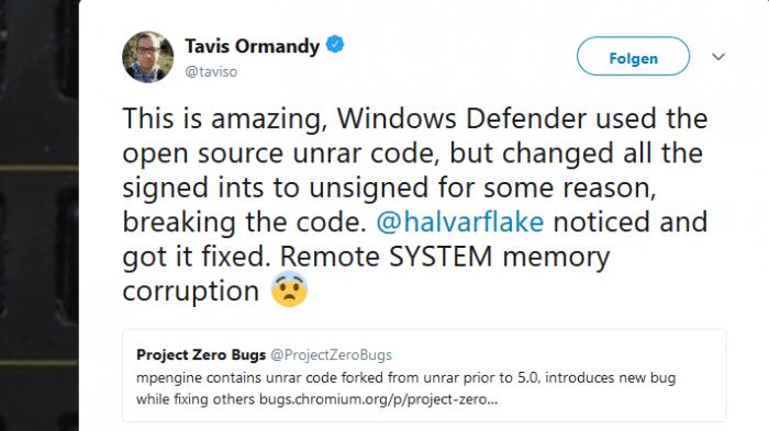 Windows Defender verschluckt sich an RAR