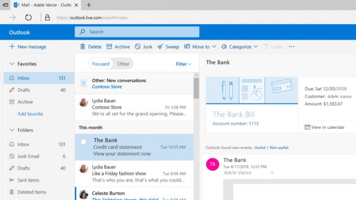Outlook mit neuen Funktionen