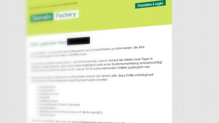 Datenleck bei Domainfactory: Kunden sollen Passwörter ändern
