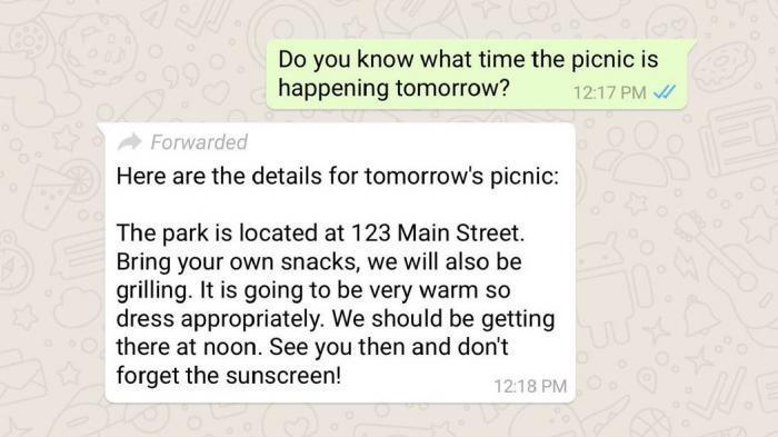WhatsApp kennzeichnet weitergeleitete Nachrichten