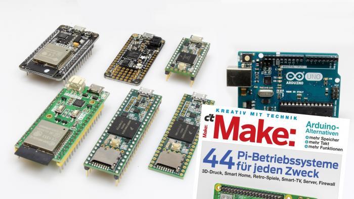 Arduino Uno neben sechs weiteren Mikrocontrollern