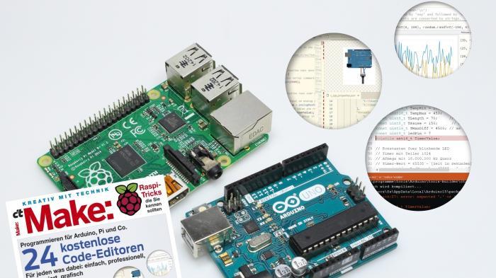 Make-Cover neben Raspberry Pi und Arduino.