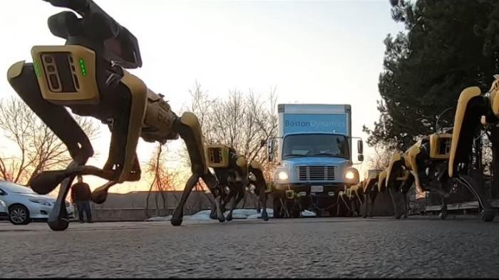 Boston Dynamics: Zehn Spot-Roboter ziehen einen Laster