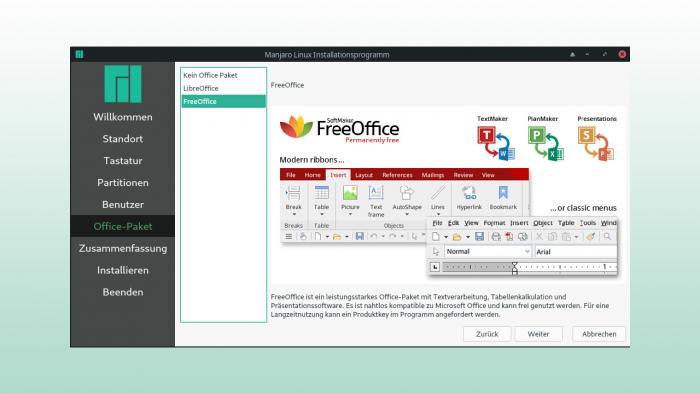 Manjaro 18.1.0 bietet FreeOffice und unterstützt neben Flatpak- auch Snap-Pakete