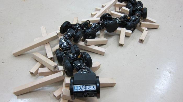 Schmaler Roboter aus schwarzen Kettengliedern mit Rollen auf einem Haufen Holzstücken.