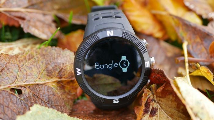 Eine schwarze Uhr vor buntem Laub.