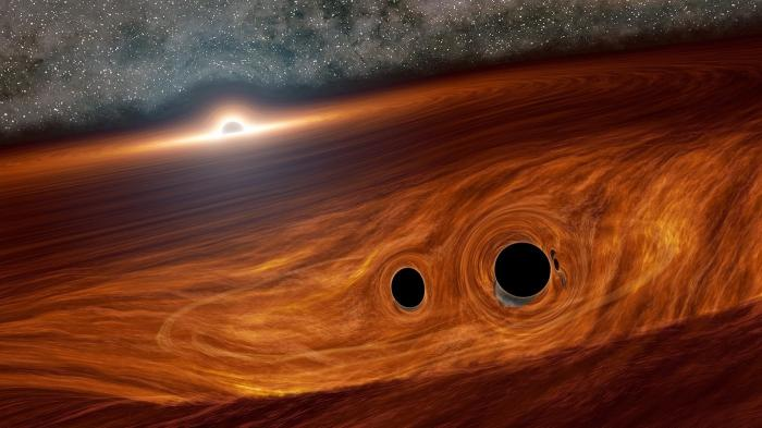 Dank Gravitationswellen beobachtet: Spuren der Kollision zweier Schwarzer Löcher