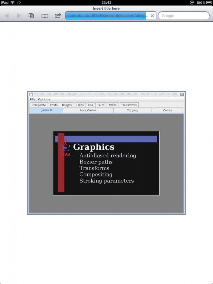 Screenshot: Eine Java-Anwendung auf dem iPad