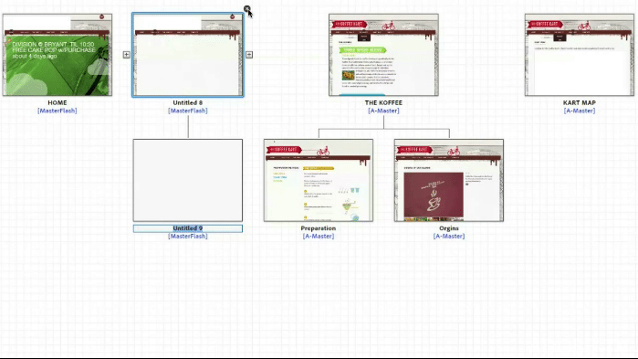 Screenshot: Sitemap in Adobe Muse