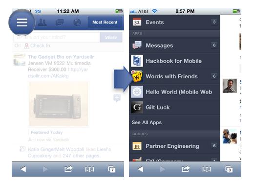 Screenshot: Das erst vor kurzem vorgestellte Facebook für iOS
