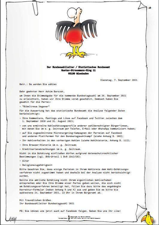 In eigener Sache: Gefälschte Bundeswahlleiterbriefe des Editorials
