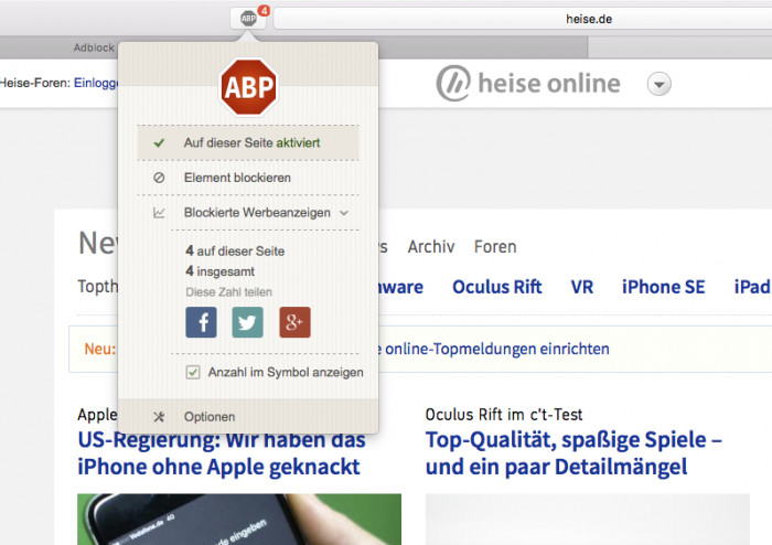 Adblock in Safari