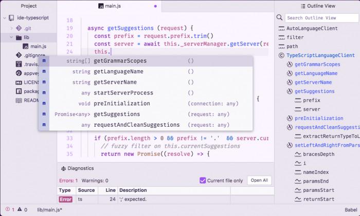 Dank des Language Server Protocol bietet die Atom IDE eine verbesserte Autovervollständigung.