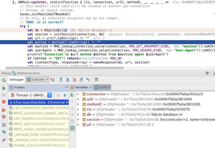 CLion ermöglicht das Debuggen von nativem Kotlin-Code.