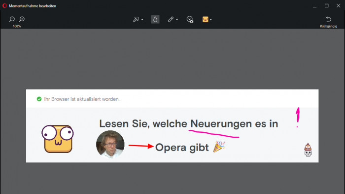 Opera 49: Smileys und einfache Einrichtung