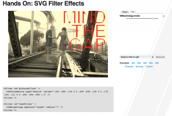 Screenshot: IE10-Tech-Demo zu SVG-Filtern