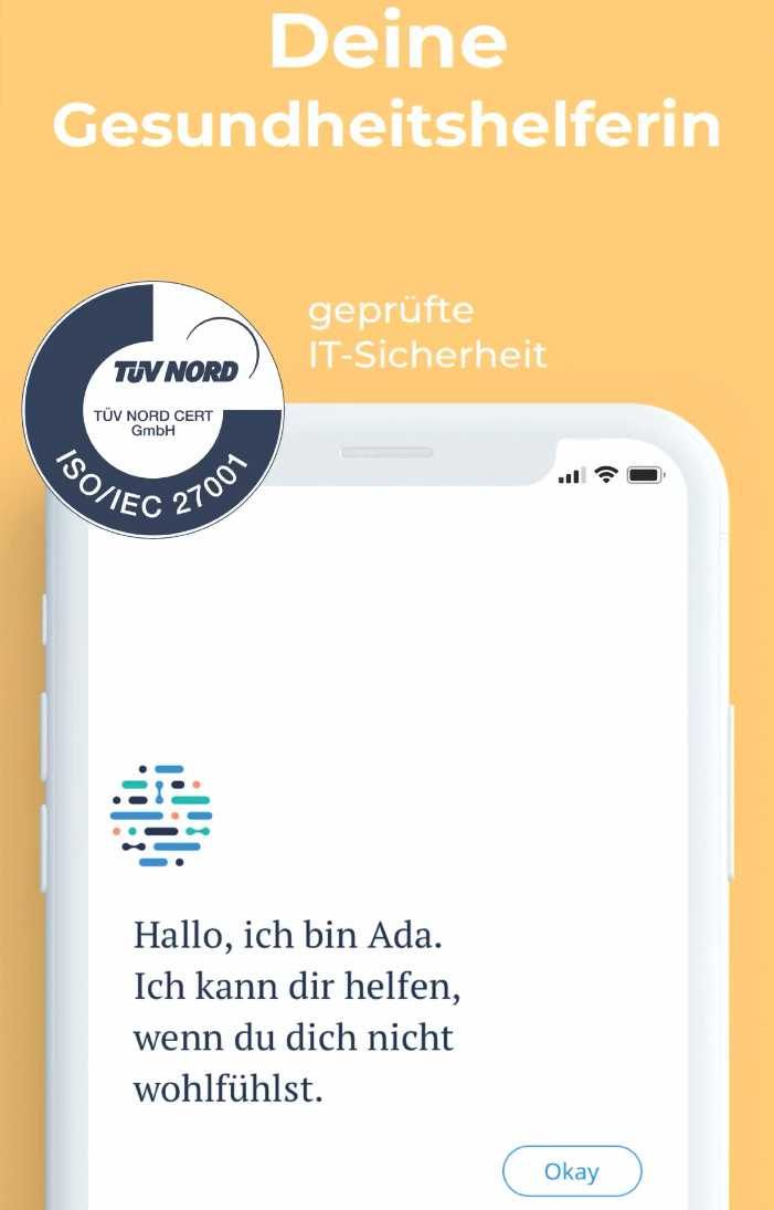 Ada advertises its health app with a TÜV seal of approval. The TÜV, a product inspection and certification agency, apparently did not object to the data transfer.