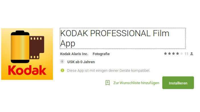 Kodak Professional Film App: Welcher analoge Film eignet sich für eine bestimmte Aufnahmesituation?