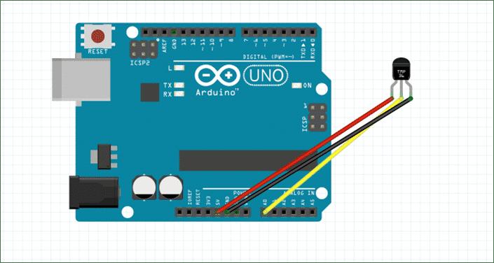 Schaltung mit Arduino Uno und TMP36-Sensor