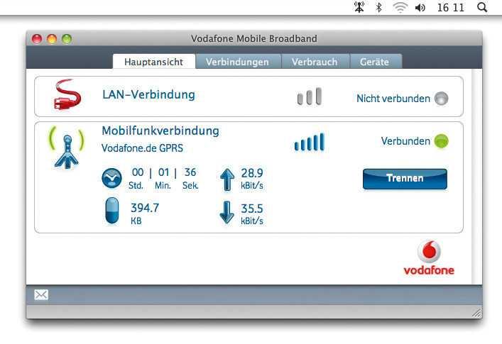 Die Vodafone-Software funktionierte im Test unter Mac OSX einwandfrei – und Spaß machte das Hantieren damit obendrein.