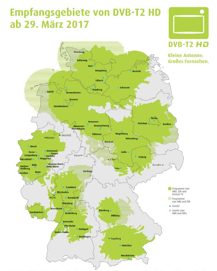 Empfangsgebiete für DVB-T2 HD ab 29.03.2017