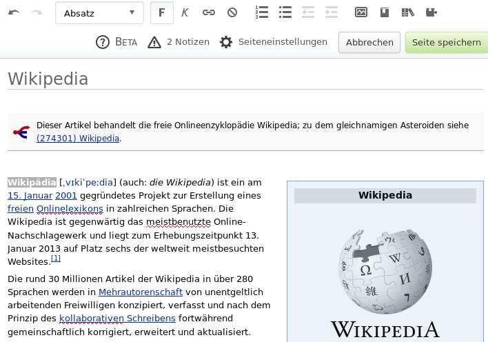 Wikipedia Visual Editor