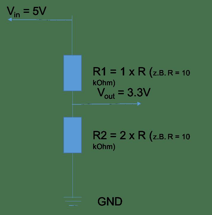 Lösung per Spannungsteiler mit 5V Eingang und 3.3V Ausgang