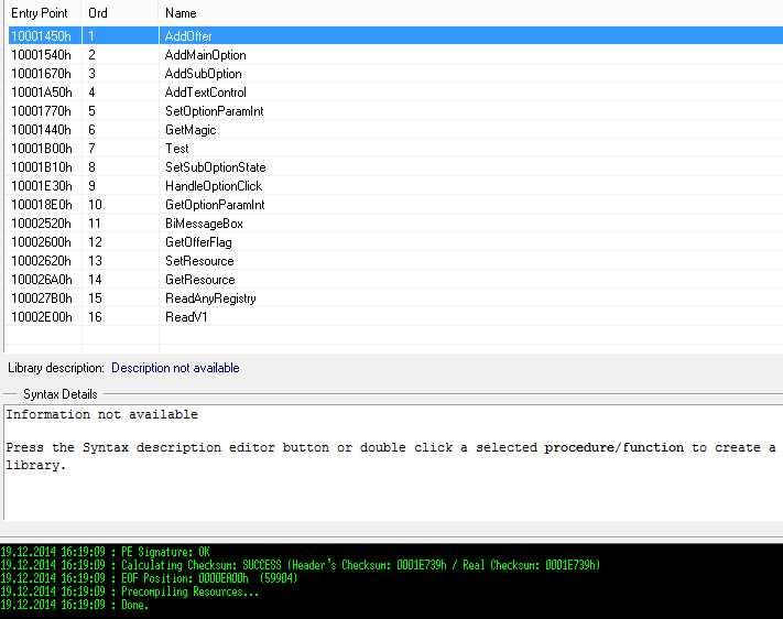 Ein Blick in die Export-Funktion der Programmbibliothek Bitool.dll mit dem PE Explorer von Heaventools offenbart selbsterklärende Funktionsnamen.