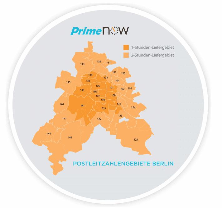 In diesen Gebieten steht Amazon Prime Now zur Verfügung.