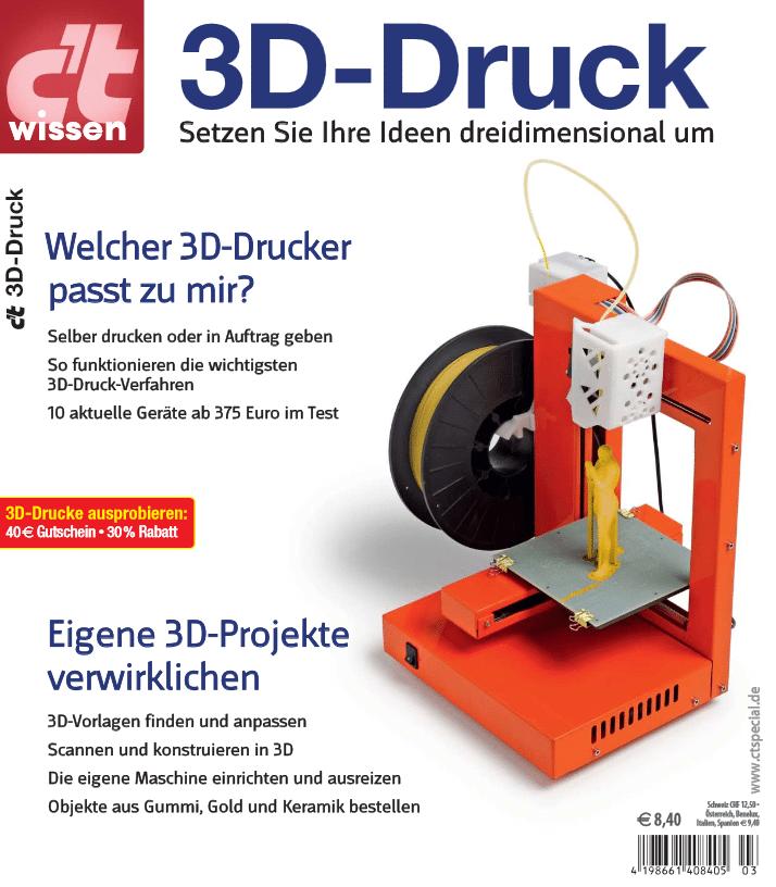 """Das Sonderheft """"c't-wissen 3D-Druck"""" verbindet Testberichte und Praxistipps, liefert Know-How und Inspiration für eigene Projekte."""