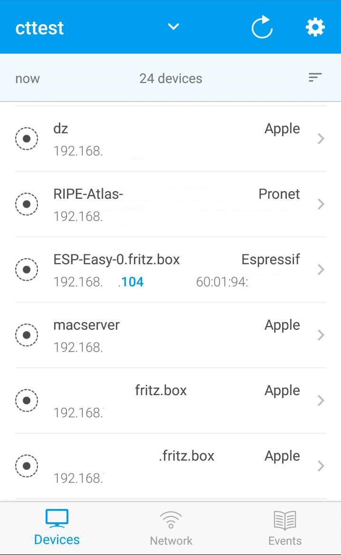 """Die Android- / iOS-App """"Fing"""" durchsucht auf Knopfdruck das lokale Netz nach Netzwerkgeräten. Der Scanner erkennt den Hersteller der gefundenen Geräte anhand ihrer MAC-Adresse. Halten Sie nach """"ESP-Easy-0"""" und """"Espressif"""" Ausschau."""