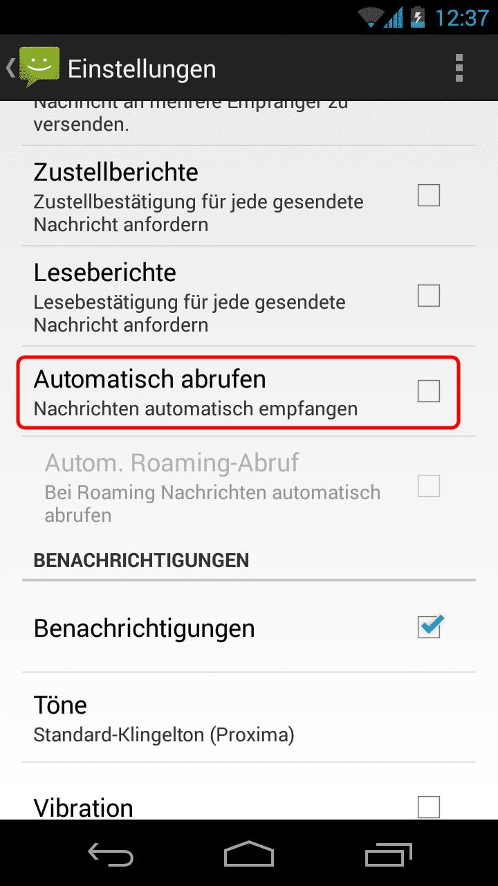 """In den Einstellungen der Nachrichten-App (seit Android 4.4 """"Hangouts"""") kann man den automatischen Abruf von MMS deaktivieren."""