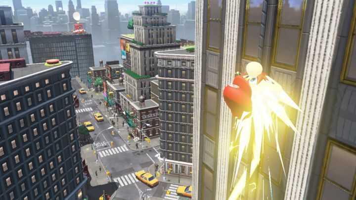 In der Großstadt saust Mario Fassaden empor und vergnügt sich dort in Arcade-Parcours im Retro-Design.