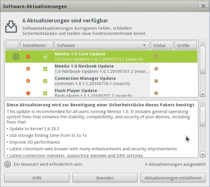 MeeGo bietet nach dem ersten Start das Upgrade auf Version 1.0.1 an.