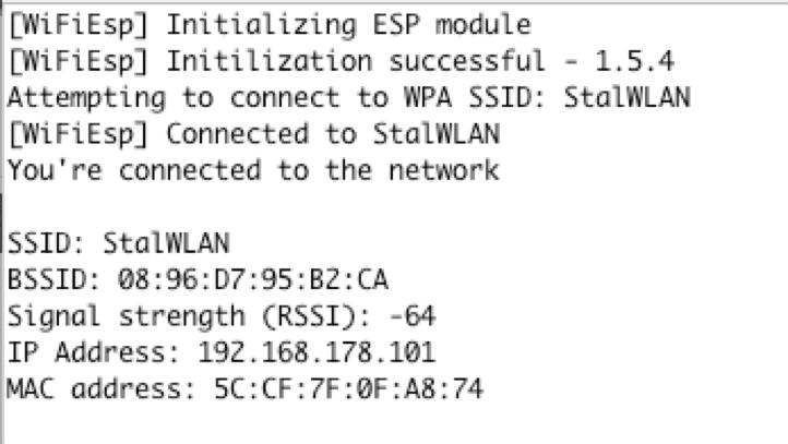 Beispiel ConnectWPA aus der Bibliothek WiFiEsp