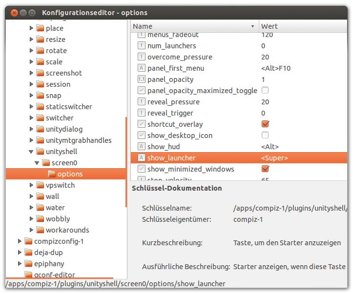 Erst nach einer Konfigurationsänderung ruft die Super-Taste das Dash auf, wie es bei Unity normal ist.