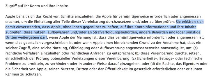 """Auszug aus Apples """"Nutzungsbedingungen für iCloud""""."""
