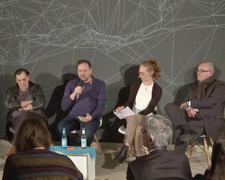 Matthias Heeder, Lorenz Matzat, Moderatorin Teresa Sickert und Dirk Peglow (v.l.n.r.)