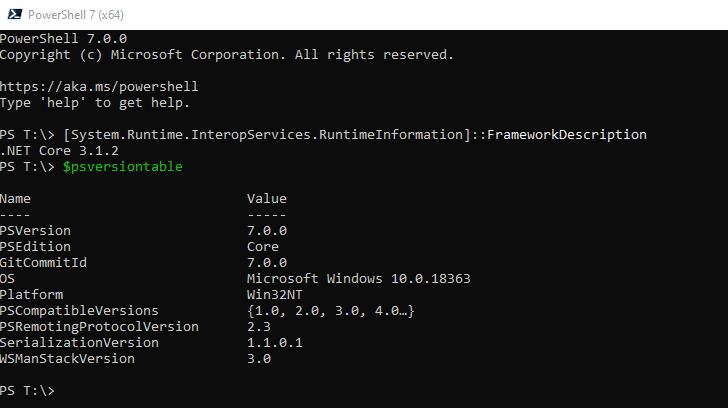 PowerShell 7.0: Versionsinformationen in der PowerShell 7.0