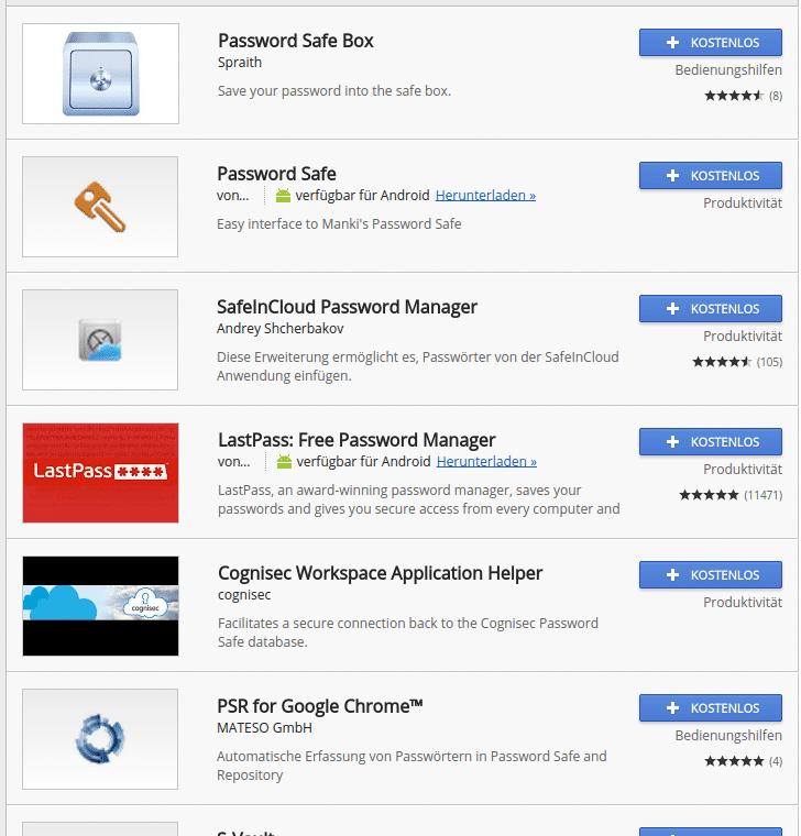 Obwohl es viele kostenlose Passwort-Safes gibt (hier einige für den Chrome-Browser), hält sich deren Verbreitung in Grenzen.