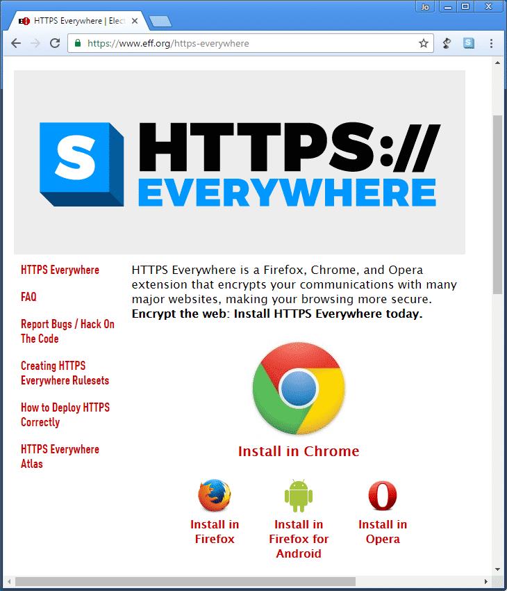 Die Browser-Erweiterung HTTPs everywhere sorgt dafür, dass der Browser die verschlüsselte Variante von Webseiten aufruft, wo immer das möglich ist.